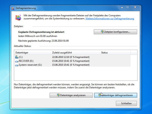 Partition: Windows 7 Defragmentierung