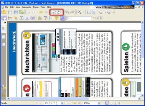 Foxit Reader: Dokument drehen