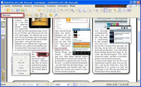 Foxit Reader: Dokument nach Textstellen absuchen