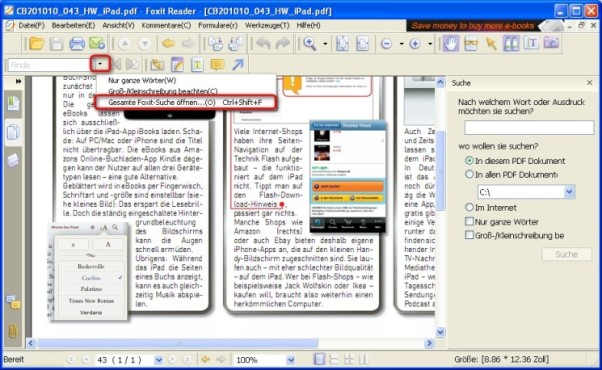 Foxit Reader: Erweiterte Suchfunktion verwenden