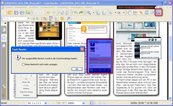Foxit Reader: Inhalte als Grafik weiterverarbeiten