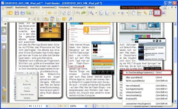 Foxit Reader: PDF-Inhalte als Text exportieren