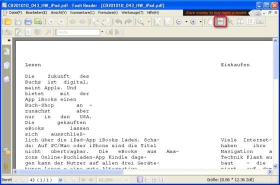 Foxit Reader: PDF in Textdatei umwandeln