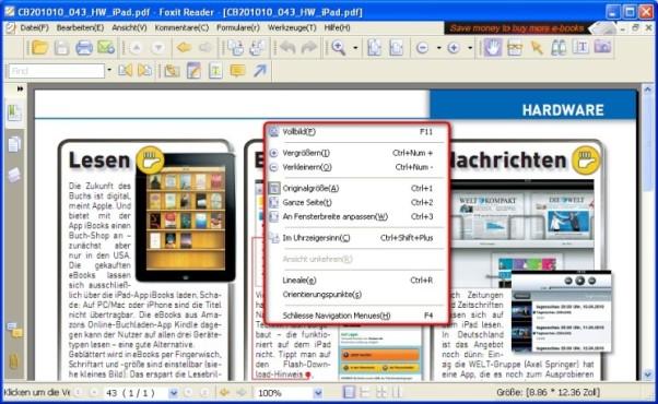 Foxit Reader: Seitenansicht anpassen
