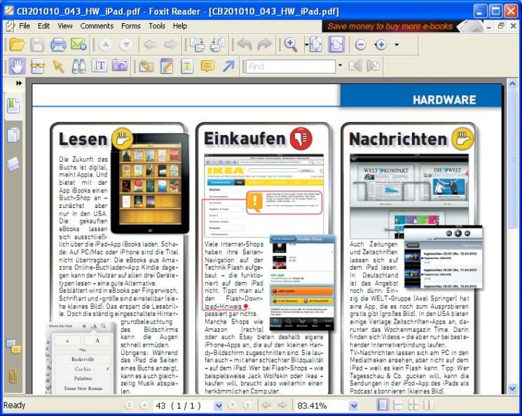 pdf reader by sporadic software bar