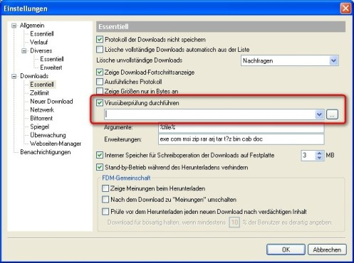 Free Download Manager: Virenscanner aktivieren