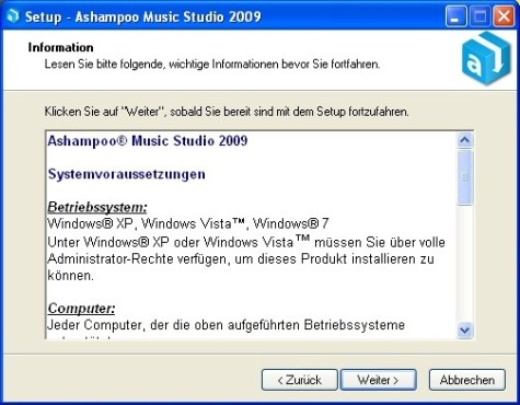 Ashampoo Music Studio: Programminformationen lesen