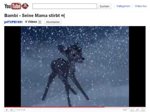 Bambi – Der Tod von Bambis Mutter © YouTube