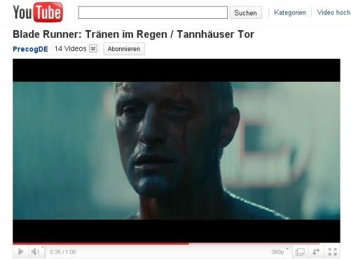 Der Blade Runner – Tränen im Regen ©YouTube