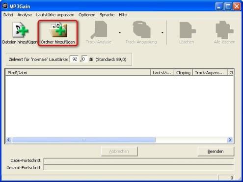 MP3Gain: Verzeichnis zum Bearbeiten auswählen
