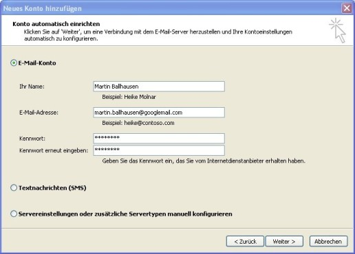 Office 2010: E-Mail-Konto konfigurieren