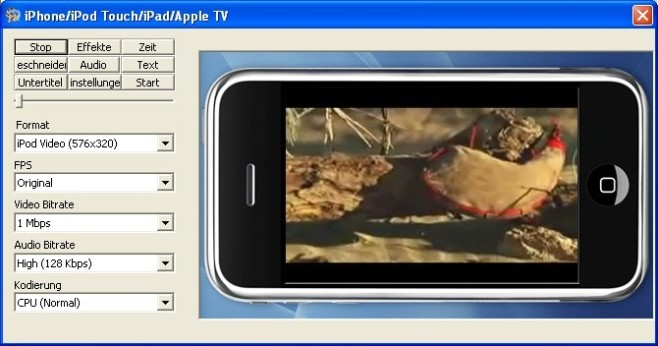 MediaCoder: Video für iPod/iPhone umwandeln