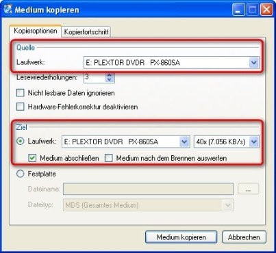 CDBurnerXP: Laufwerke f�r den Kopiervorgang ausw�hlen