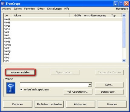 TrueCrypt: Datentresor anlegen