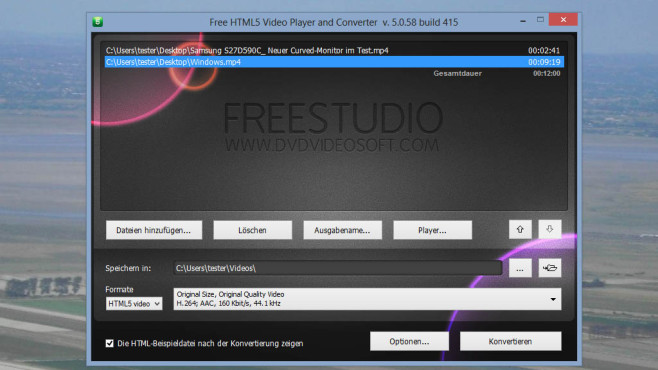 Free HTML5 Video Player and Converter: © COMPUTER BILD