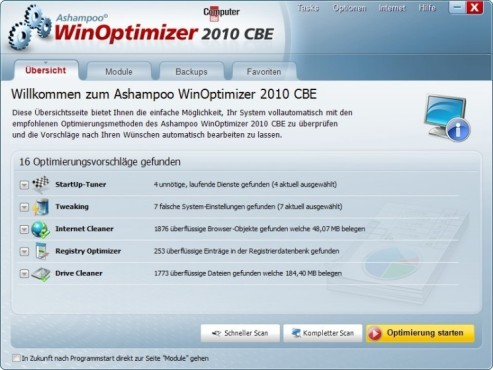 Ashampoo WinOptimizer 2010 © Screenshot
