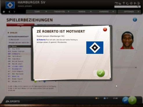 Komplettl�sung Fu�ball Manager 11: Moralsystem © Electronic Arts