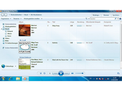 Windows Media Player auf dem B10 © COMPUTER BILD