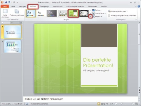 Office 2010: Design nachtr�glich �ndern