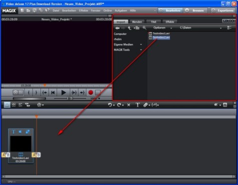 Magix Video Deluxe: Video in das Projekt laden