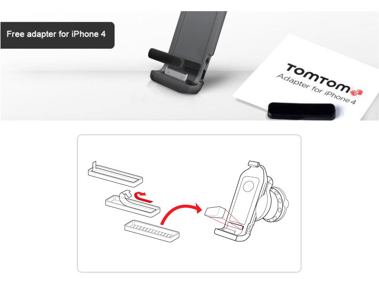 jetzt gratis bei tomtom adapter f r das iphone car kit. Black Bedroom Furniture Sets. Home Design Ideas