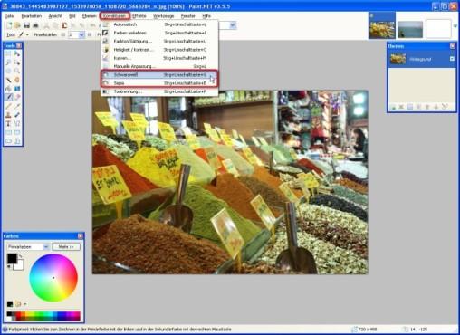 Paint.NET: Farben entfernen: Schwarzweiß und Sepia