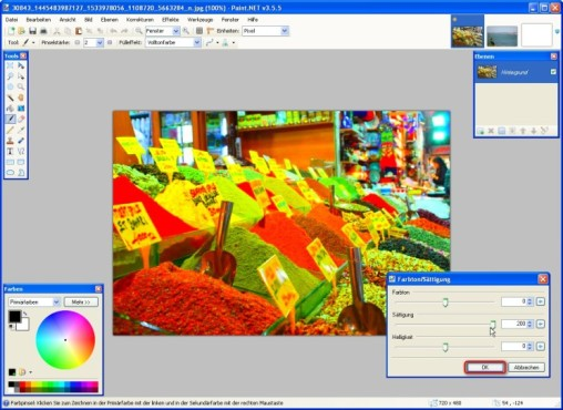 Paint.NET: Farbton verändern