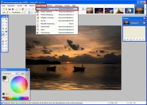 Paint.NET: Farbwerte ausgleichen: Automatisch