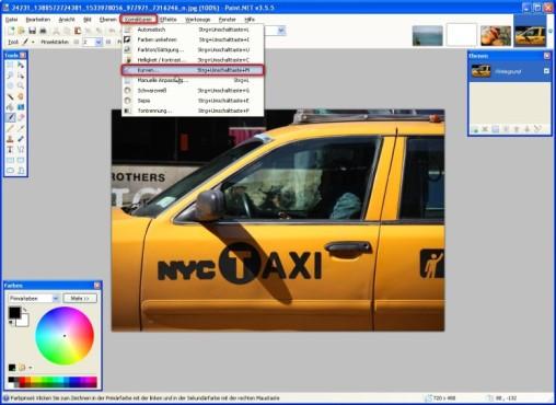Paint.NET: Farbwerte ausgleichen: Kurven