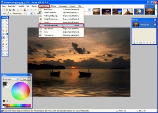 Paint.NET: Farbwerte ausgleichen: Manuelle Anpassung