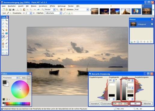 Paint.NET: Farbwerte definieren