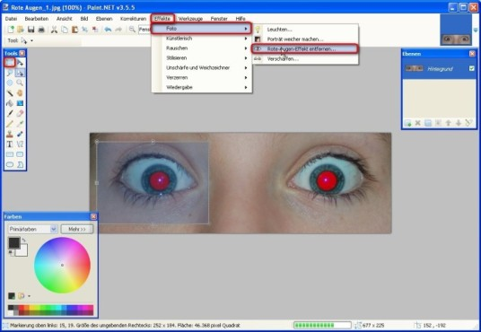 Paint.NET: Rote-Augen-Effekt entfernen