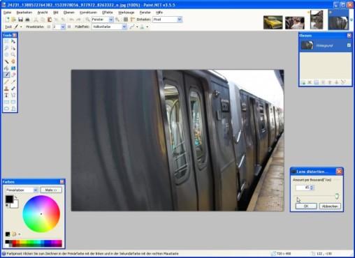 Paint.NET: Camera Lens Distortion Correction: Krümmung ausgleichen