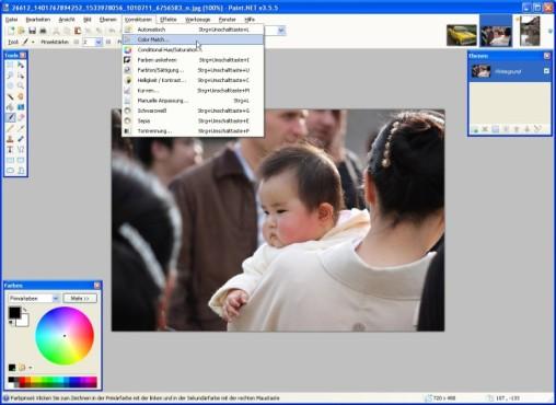 Paint.NET: Color Match: Farbgebung korrigieren