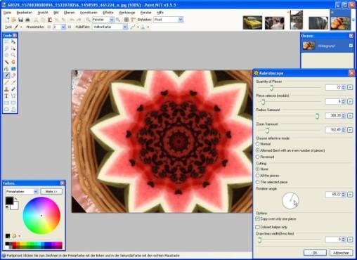 Paint.NET: Kaleidoscope: Effekt anpassen