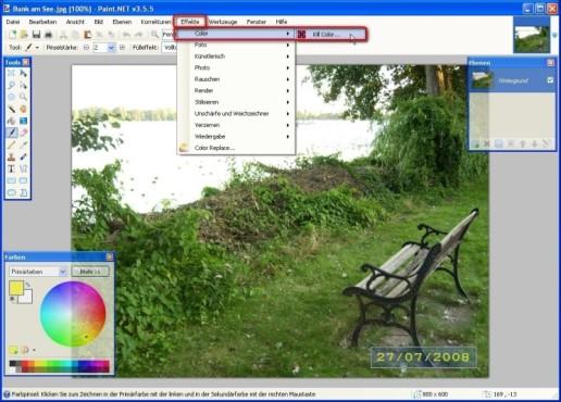 Paint.NET: Kill Color: Unerwünschte Objekte aus einem Foto entfernen