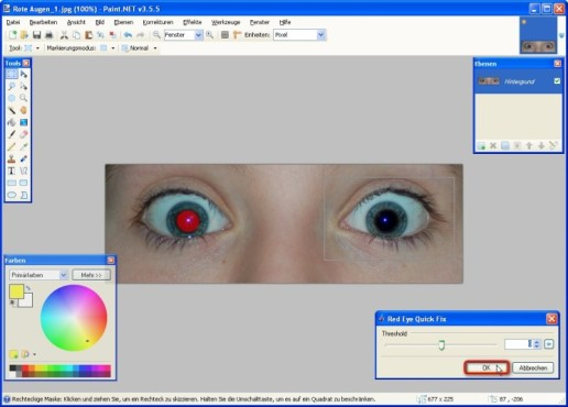 Paint.NET: Red Eye Quick Fix: Rote Augen retuschieren