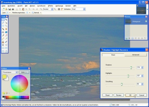 Paint.NET: Shadow/ Highlight Recovery: Belichtung einstellen