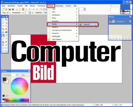 Paint.NET: Shape3D: 3D-Objekte erstellen