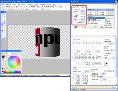 Paint.NET: Shape3D: Objektgröße und –form anpassen