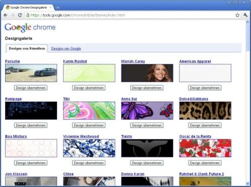 Google Chrome: Browser-Oberfläche mit Skins verschönern