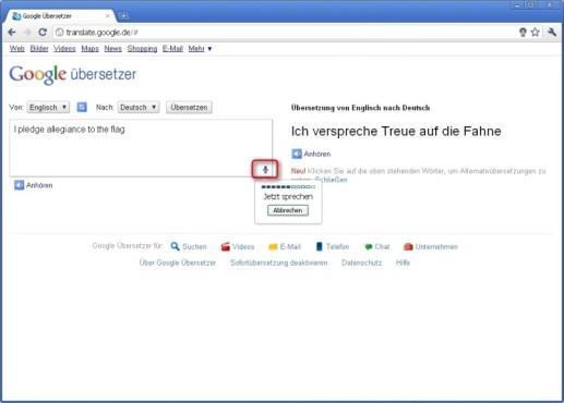 Google Chrome: Gesprochene Texte übersetzen