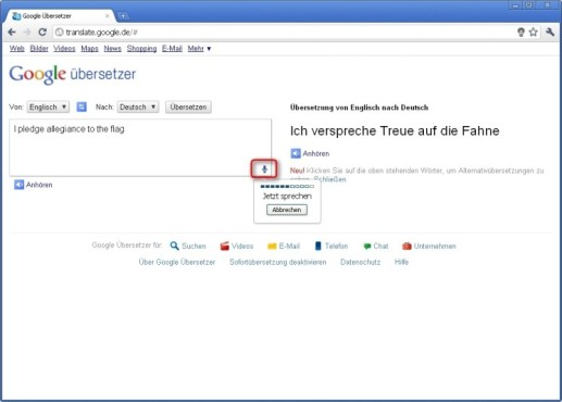 Google Chrome: Gesprochene Texte �bersetzen