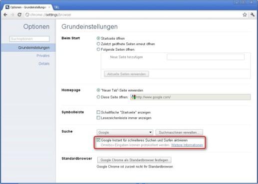 Google Chrome: Instant-Funktion aktivieren