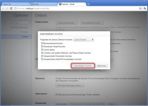 Google Chrome: Internetdaten löschen