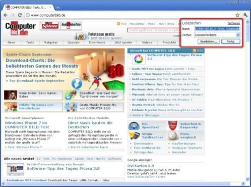 Google Chrome: Lesezeichen anlegen