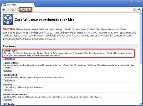 Google Chrome: Seitliche Tabs aktivieren