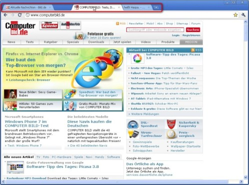 Google Chrome: Tabs neu anordnen