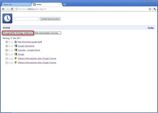 Google Chrome: Webseiten aus Verlauf entfernen