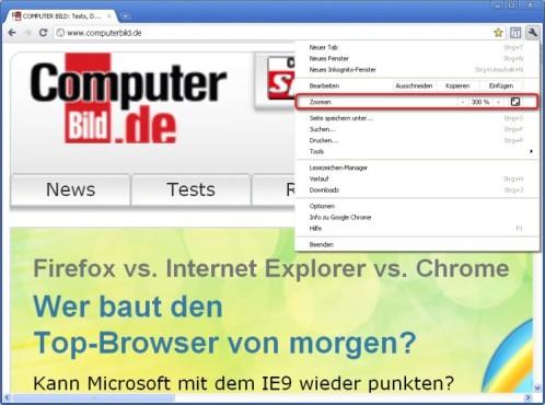 Google Chrome: Webseiten vergrößern oder verkleinern
